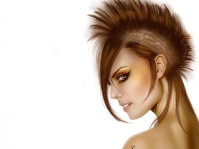 Девушка арт прическа панк веер